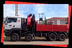 Grúas Duero S.L. camión pluma color blanco y rojo