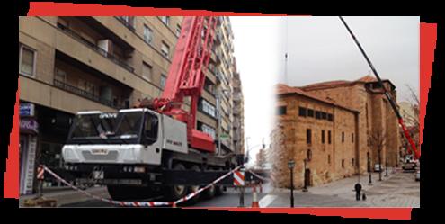 Grúas Duero S.L. edificio y camión pluma